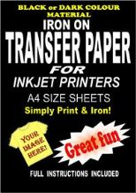 Inkjet Iron On T Shirt Transfer Paper For Dark Fabrics 5 A4 Sheets